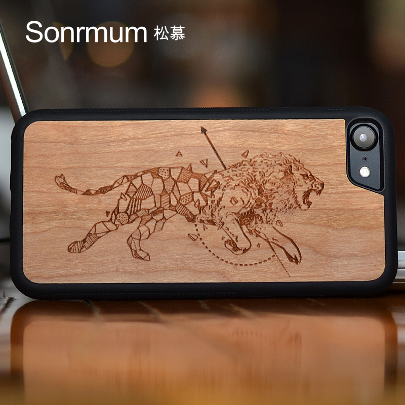 Constellation Lion Carved Natural real Wood Nytt märke Tunt lyxigt träfodral för Iphone X 6 S 7 8 Plus träskydd