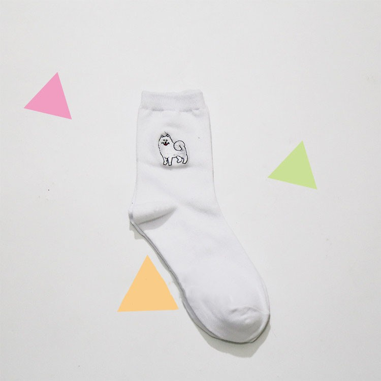 cute animal husky embroidery women cotton white socks lovely dog Jacquard female pure color socks funny kawaii pug meias soks 13