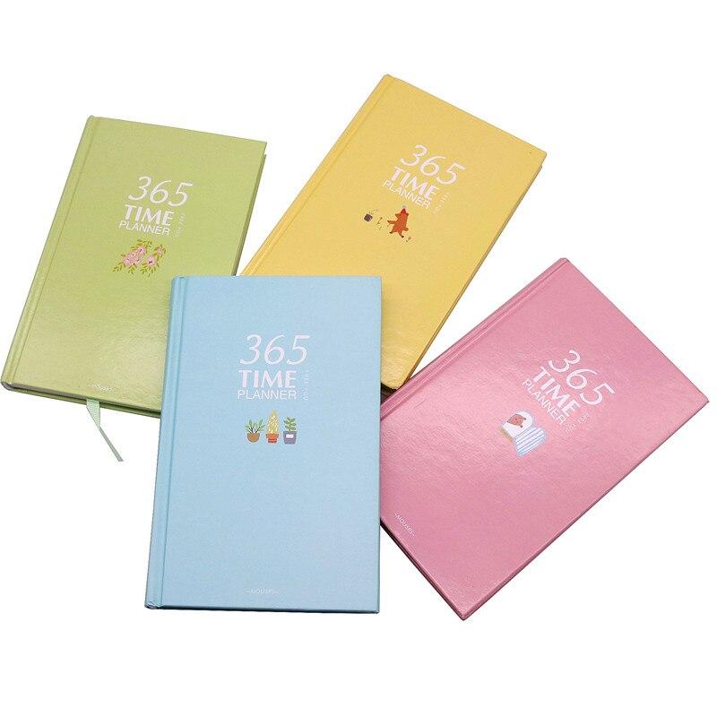 365 время планировщик 185*120*18 мм 110 листов красный желтый и зеленый цвета синий Жесткий тетрадь Тетрадь студент дневник