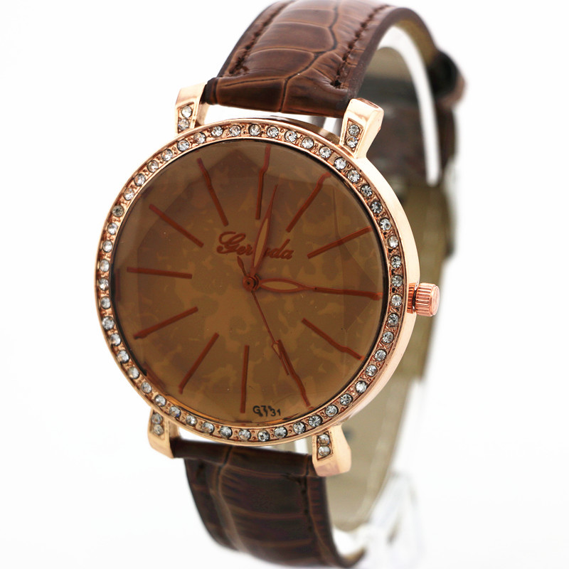 Facet dial glass,rhinestone circle in case,gold plating,PVC leahter band,Gerryda fashion woman lady quartz watches,<font><b>G731</b></font> image