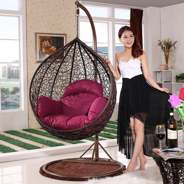 Basket Wicker Chair Swing Outdoor Indoor Hammock Hanging Balcony Deck Chairs  ADULT Bedroom Rocking