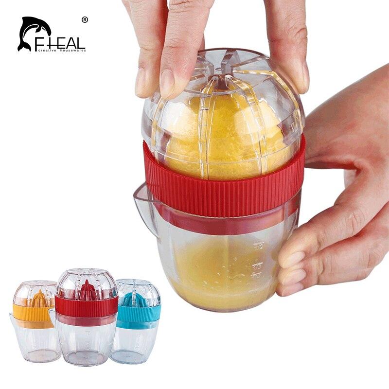 מדריך לימון מסחטה ההדרים מסחטת FHEAL עם מכסה פלסטיק כוס עיתונות ידנית יד לימונים גאדג 'טים למטבח כלים ירקות פירות