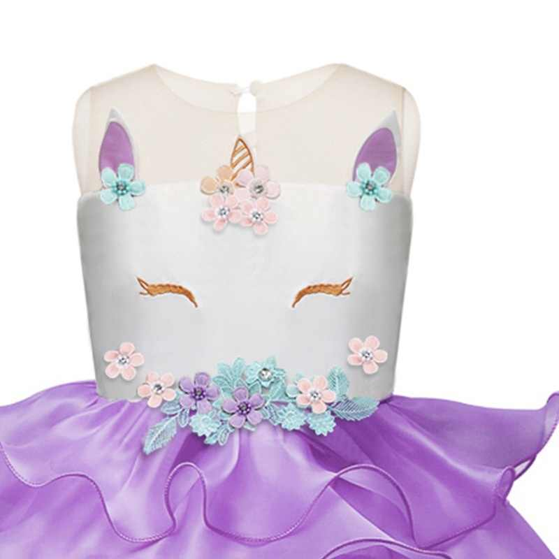 5d6b8e4078918 2019 Children Clothing Kids Unicorn Dress Girls Tulle Rainbow Tutu Dresses  Toddler Unicorn Birthday Party Ball Gowns Costumes