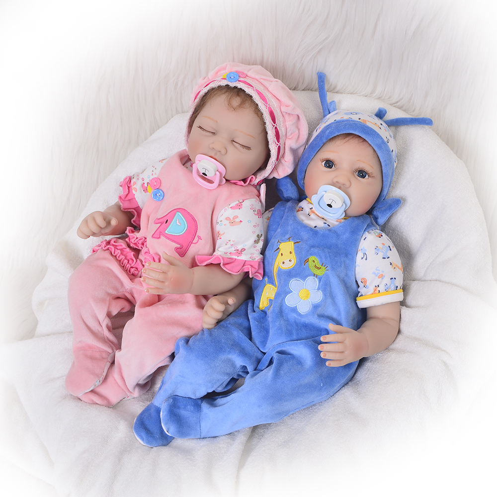 Lovely 22 Inch Silicone Reborn Baby Dolls 55 cm Real Touch Newborn Doll A Sleeping Girl and A Awake Boy Twins Toy For Kids Gifts недорго, оригинальная цена