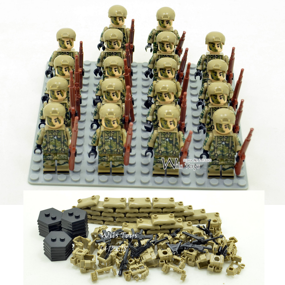 18pcs Special Forces MILITARY Soldiers WW2 SWAT Navy Seals Team Army Building Blocks Bricks Figures Educational Toys Gifts Boys military city police swat team army soldiers with weapons ww2 building blocks toys for children gift