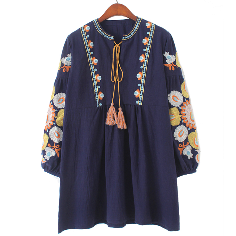2017 new cotton with tassel bohemian boho blouses loose pattern wide fit embroidery on sleeve with flowers whole sale