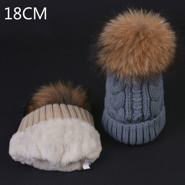 Double-deck Knitted Wool Real Natural Raccoon Fur Pompon Hat Female Winter Braid Cap Headgear For Women Skullies Beanies