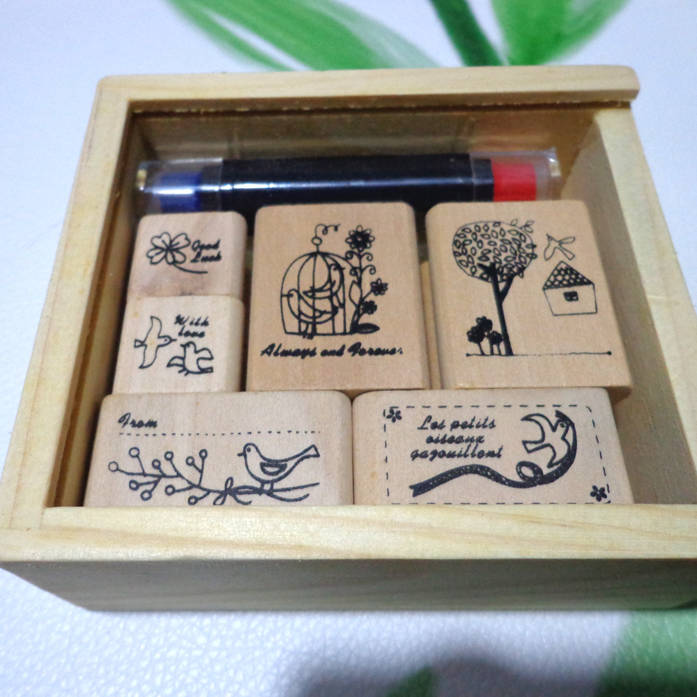 1box (6pcs wood stamp and 1pc ink pad )Bird Tree House Clover Diary Scrapbook Wooden Rubber Stamp bobo bird brand new sun glasses men square wood oversized zebra wood sunglasses women with wooden box oculos 2017