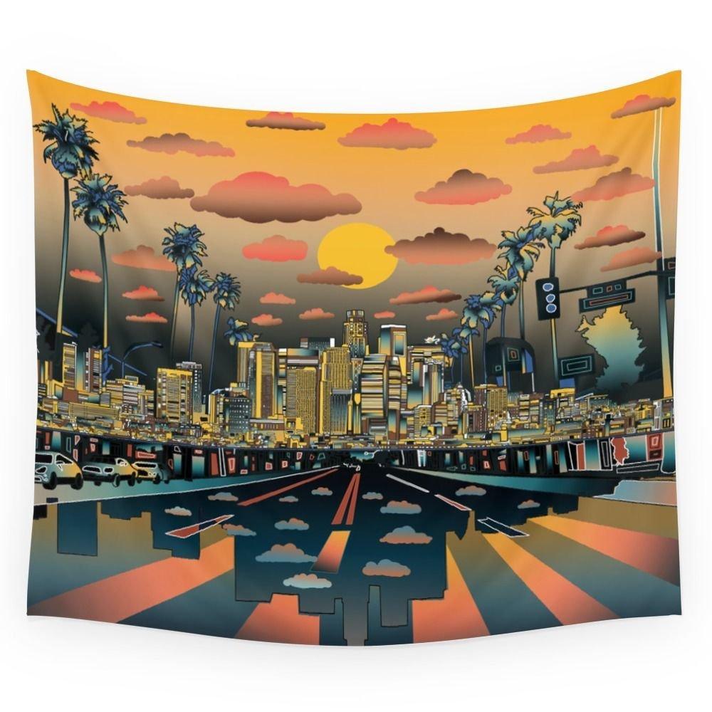 Garden Decor Los Angeles: Mandala Tapestry Los Angeles City Skyline Printed Wall