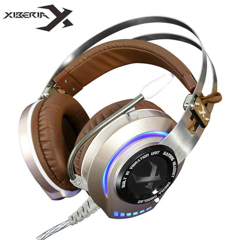 Gaming Headset Gamer Best casque XIBERIA K2 Stereo Hifi Game Headphones with Microphone Mic Glowing LED Light Vibration fones xiberia k9 usb surround stereo gaming headphone with microphone mic pc gamer led breath light headband game headset for lol cf