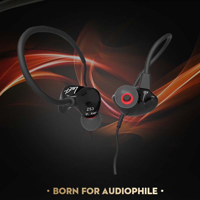 KZ ZS3 In Ear Noise Cancelling Earphone Earbuds Stereo Music Running Sport HIFI Earphones Headset with Microphone for Smartphone kz ed8m earphone 3 5mm jack hifi earphones in ear headphones with microphone hands free auricolare for phone auriculares sport
