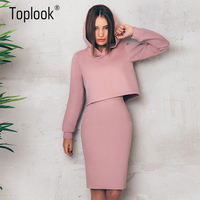 Toplook Pink Suede Womens Sets Two Piece Sets Hooded Sweater Plus High Waist Pencil Skirt 2017