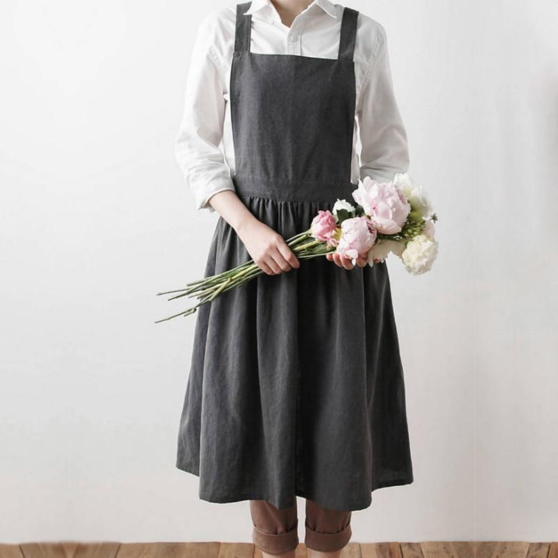 Femmes bavoir en lin tablier 100% lin sans manches pinabefore robe maison pour femme cuisine tablier cuisine café boutique tablier
