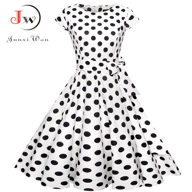 Plus Size Women Summer Dresses Vintage 50s 60s Robe Retro Pin Up Swing Floral Polka Dot Rockabilly Dress Elegant Party Dress 6