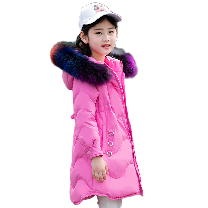 Drawstring Long Girls Duck Down Jackets Winter Thicken Girl Coat Hooded Natural Fur Collar Fashion Outerwear Overcoats 5-14Age недорго, оригинальная цена