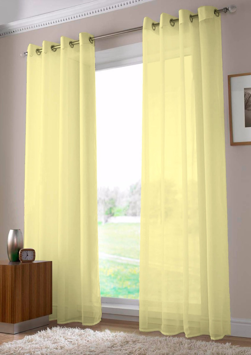 Light yellow curtains - Two Panels French Window Perspective Tube Cortina Beige Modern Light Translucent Solid Tulle Sheer Curtains Living Room Curtain In Curtains From Home