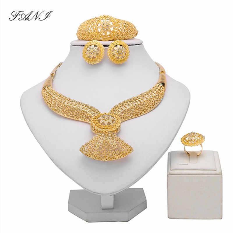 Fani Dubai Gold Farbe Schmuck Set Marke Nigerian Hochzeit frau zubehör schmuck set Großhandel Indien Braut schmuck set Geschenk