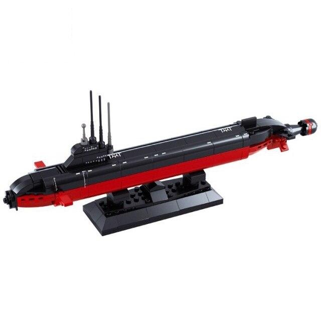 Brinquedos militares LEGAL B0391 SUBMARINO NUCLEAR Modelo de navio de Guerra DA MARINHA Do Exército DIY Blocos Tijolos Brinquedos de Presente arma modelos em escala 193PCS