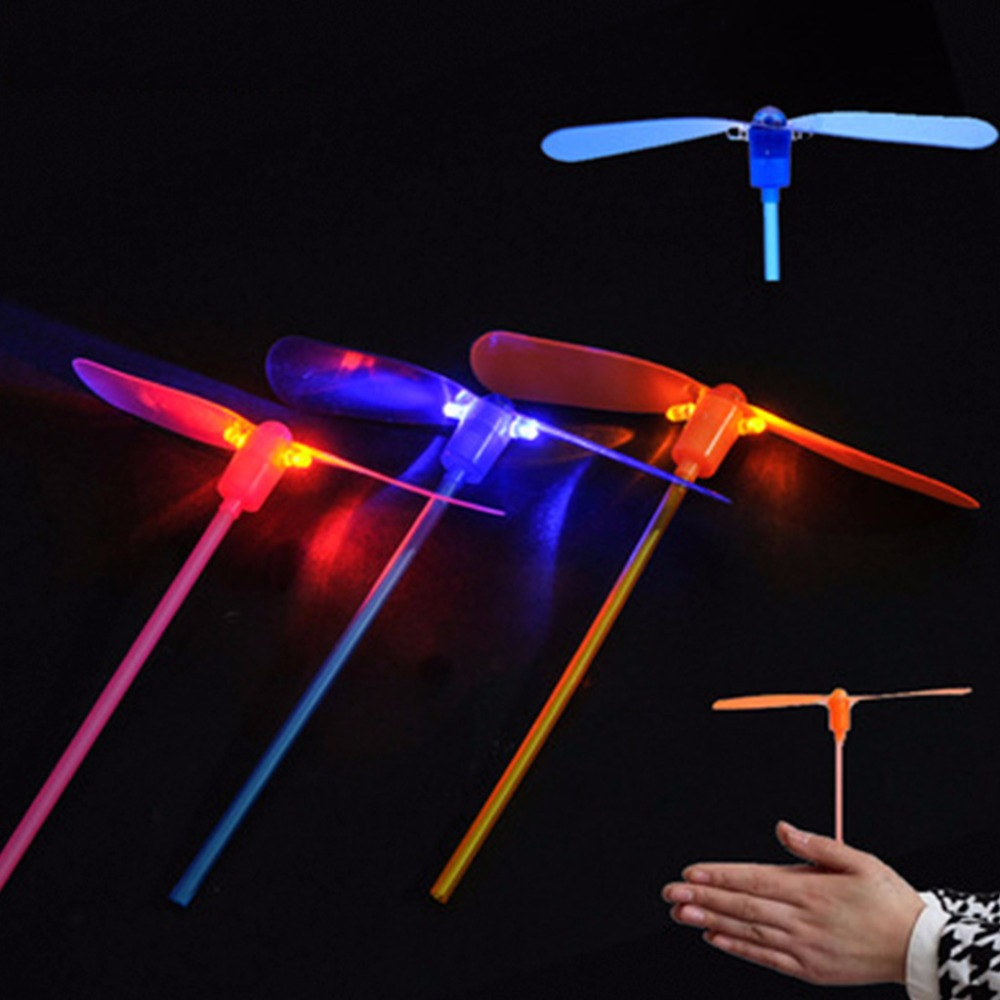 Led Flash Plastic Bamboo Dragonfly Propeller Kids Outdoor Hand Push Gifts Toy