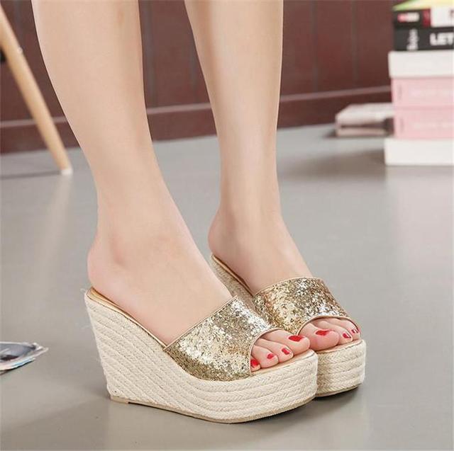 Sandalias de cuña de oro zapatos de mujer sandalias de diapositivas de punta abierta uCKYac2
