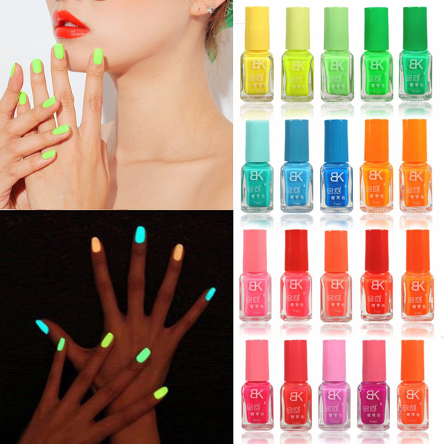 New 7mL Candy Colors Fluorescent Nail Polish Lacquer Luminous Neon ...