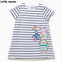 Little maven 2017 new summer baby girls clothes children Cotton embroidered mouse dresses S0152