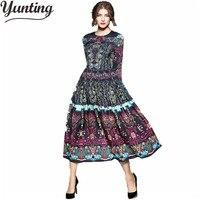 High Quality Newest Fashion Runway Maxi Dress Women S Long Sleeve Retro Art Printed Designer Long