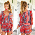 2016 Women Jumpsuit Red Tribal Aztec Prints Summer 3/4 Sleeve V Neck Loose Casual Beach Wear Short Sexy Playsuit