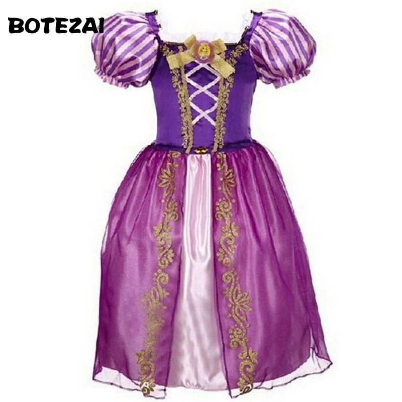 Sofia Cinderella Rapunzel Belle Snow White Girl Kid Short Sleeve Princess Dress Up Teenage Halloween Party Dress Cosplay Costume все цены