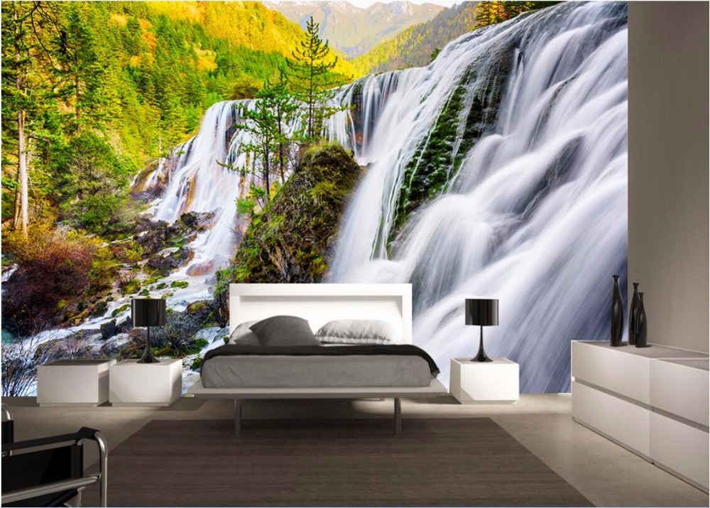 3d wallpaper custom photo mural woods waterfall scenery for Custom photo mural
