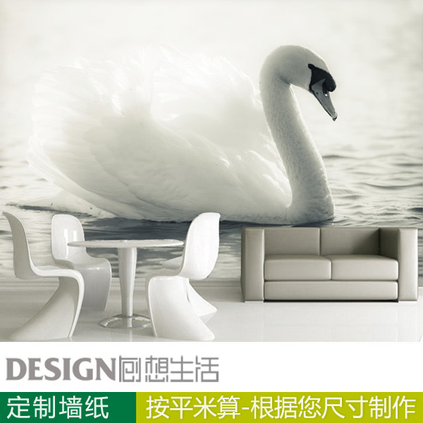 Swans Animals 3D Wallpaper Background Wall Paper Personalized Custom Bedroom Living Room Bed Video Mural