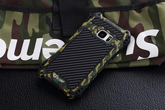 Armadura à prova de choque caso de silício metálico para samsung galaxy s7 g9300 g930f s7edge g9350 capa de proteção da pele casca de camuflagem do exército