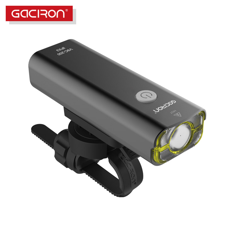 GACIRON Bicycle LED Head-lights USB Rechargeable Bike Front Waterproof Flashlight for MTB Road Cycling 200 Lumens 1800 mAH bike cycling led lights usb rechargeable mtb bicycle head front light rear tail lamp waterproof flashlight 3 modes torch set m25