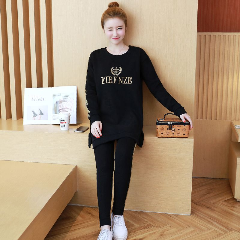 Autumn and winter Korean fashion pregnant women set gold thread ribbon embroidery shirt + stomach lift pants two-piece suitAutumn and winter Korean fashion pregnant women set gold thread ribbon embroidery shirt + stomach lift pants two-piece suit