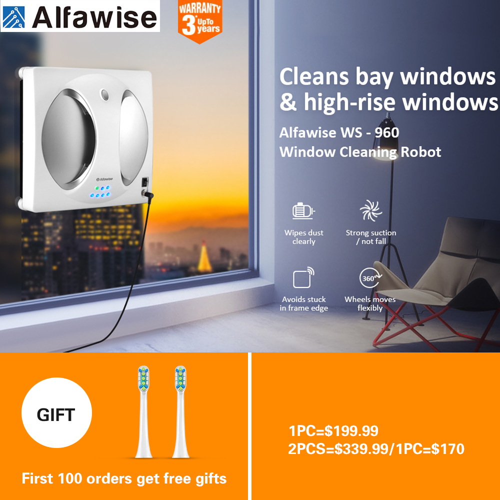 Alfawise WS - 960 Smart Robot Vacuum Window Cleaner Outside/Upper Window Glass 4LCDs 360 Rotating Remote Control Cleaning Robot