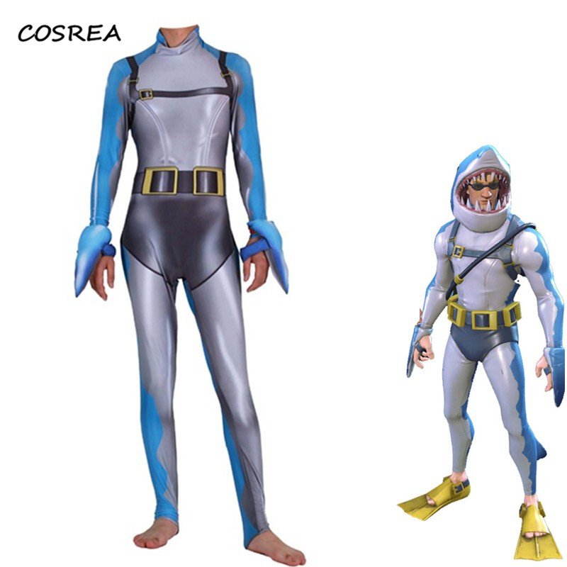 Game Fortnight Cosplay Costume Kids Adult Shark Link Zentai Jumpsuits Men Halloween Christmas Party Costumes for Women Kids