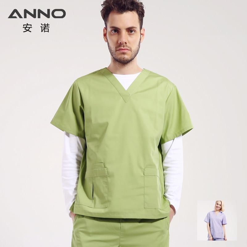 ANNO Uniformes Médicos Esfrega Conjunto Mulheres Homens Enfermeira Hospital Dental Spa salão de beleza Desgaste Do Trabalho Roupas Cirúrgicas Roupas Médicas