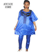 Soft material dashiki dress with pants