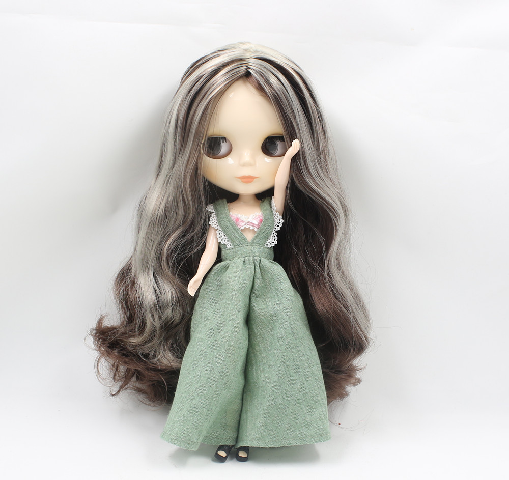 Free shipping icy blyth Doll bjd 280BL0222 8800 no bangs central part dark brown mix grey