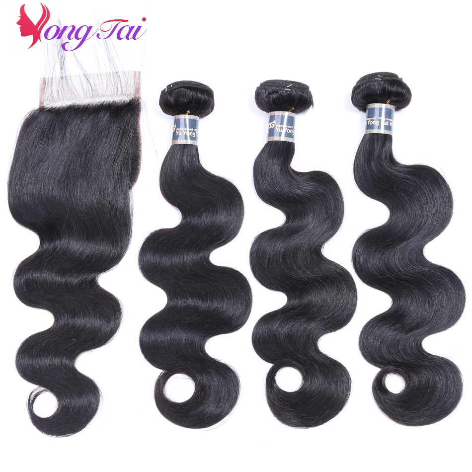 YuYongtai Peruvian HAIR Extension Weave 3 Bundles With 4 4 Lace Closure Baby Hair Body Wave