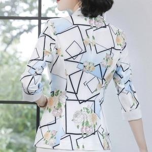 Image 5 - Modna kurtka damska formalna szczupła temperament na co dziń z nadrukiem pół rękawa marynarka biurowa, damska wiosna jesień plus rozmiar płaszcz