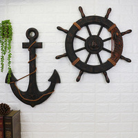 Wood Mediterranean Ship Wooden rudder helm Ship Anchor antique home decor wall decoration vintage room decoration accessories