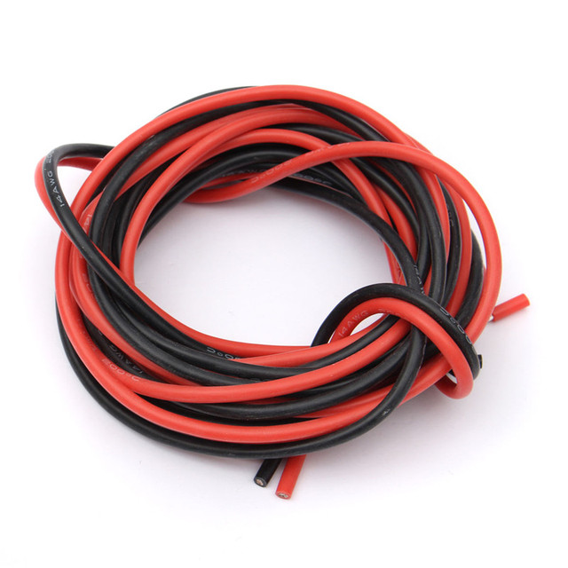 2 X 3Meter 14/16/18/20/22/24/26 gauge AWG Silicone Rubber Stranded ...