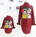2017Hot sale New fashion Family Matching Outfits  back with lovely cartoon printing plaid long sleeve shirt