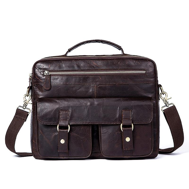 2018 New Retro Men's Briefcase Genuine Leather