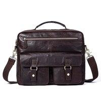 2018 New Retro Men S Briefcase Genuine Leather Men Bag Famous Brand Shoulder Messenger Bags Casual