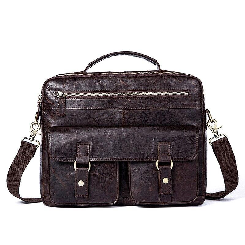 100% QualitäT 2018 Neue Retro Herren Aktentasche Aus Echtem Leder Männer Tasche Berühmte Marke Schulter Messenger Taschen Beiläufige Handtasche Laptop Tasche Für Männlichen