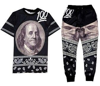 Franklin 100 emoji face cashew flowers Print 3d t shirt+joggers men/women sweatpants hip hop suit Free shipping