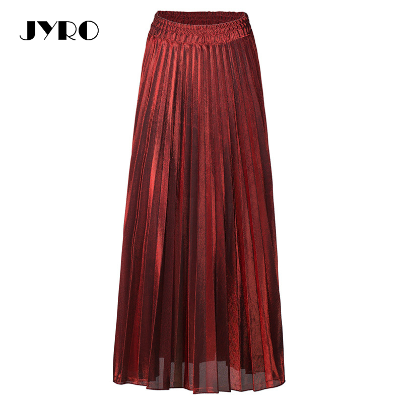 3e4acb3c61 JYRO New Pleated Skirt Slim High Waist Skirt Swing Gold Beach Skirt Womens-in  Skirts from Women's Clothing on Aliexpress.com | Alibaba Group