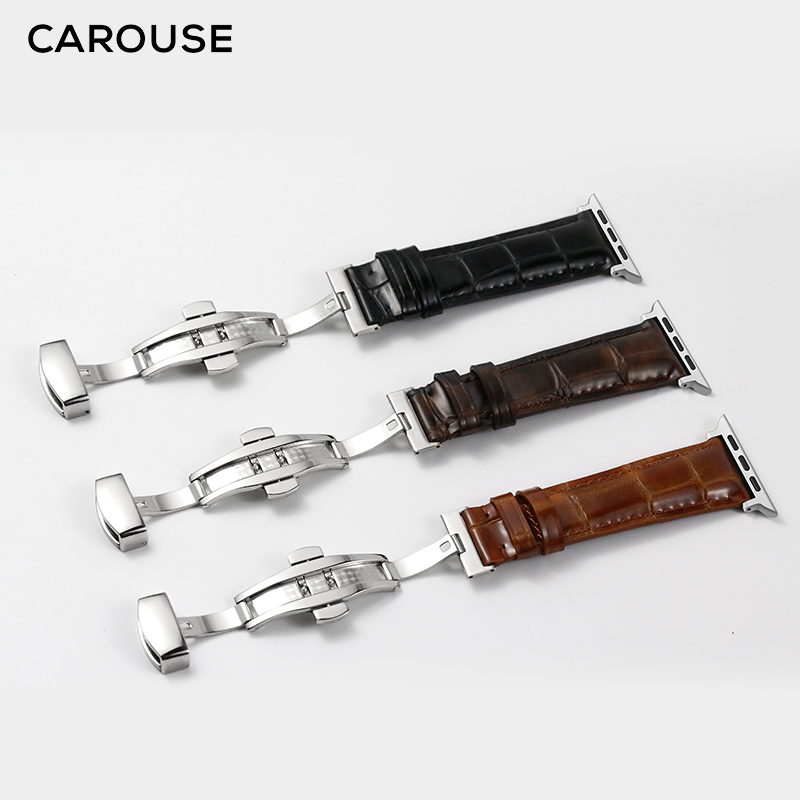 Carouse Calfskin Leather Bracelet For Apple Watch Band Series 4/3/2/1 42mm 38mm For Apple Watch Strap IWatch 44mm 40mm Watchband
